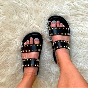 Black Double Strap Spiked Footbed Sandals